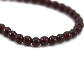 Dark Red Wine Smooth Tiny Round Glass Spacer Filler Beads Extra Long Strand 4mm