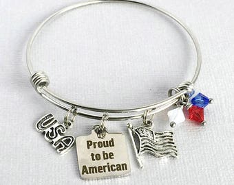 Celebrate AMERICA Bracelet, Proud to be American Charm Bangle, 4th of July Jewelry, Patriotic Bracelet, Red White and Blue Jewelry