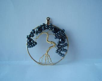 Black gladd bead Tree of Life Pendant
