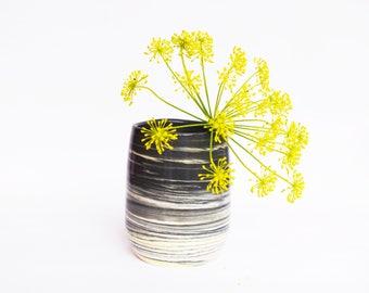 Marbled Black + Yellow + White Tumbler/Small Vase