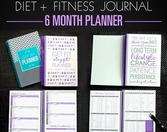 Fitness Diet Planner - 6 Month Diet Diary, Weight Loss Journal, Nutrition Tracker, Paleo, IIFYM, Motivation Purple A5