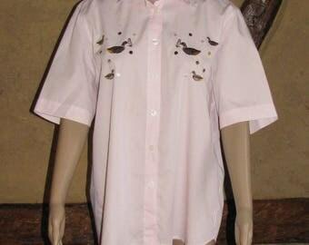 Vintage SHIRT short sleeves folk  embroidery DUCKs BLOUSE