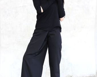 Black Pants/ Women Pants/ Trousers/Pants For Women / Pants/ Womens Trousers/ Wide Leg Pants/ Casual Clothing/ Wide Pants/Unique Style/R00118