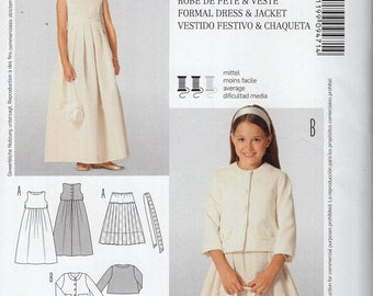 Free Us Ship Burda Kids 9471 Sewing Pattern Uncut Size 8 9 10 11 12 Girls Flower Girl Dress High Waist Jacket Petticoat Slip Out of Print
