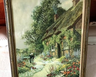 Arthur Claude Strachan Cottage Print - Scottish Painter - 1865-1938 - Country Life - Thatched Cottage - English Garden - Woman at Well
