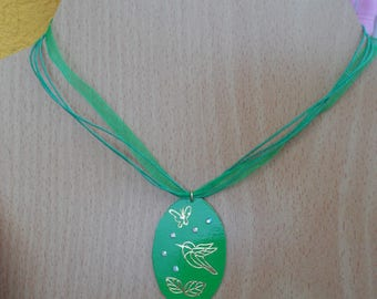 Green organza and cardboard necklace