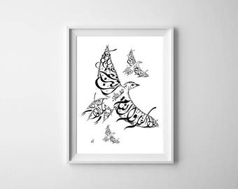 Arabic Calligraphy Bluejay Print - Mikhail Naimy Poetry - Middle Eastern Art - Arabic Home Decor