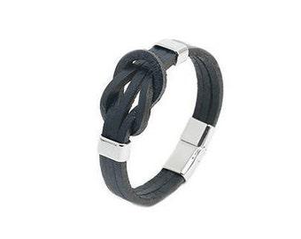 Sailor Node Leather Bracelet - Black - Brown