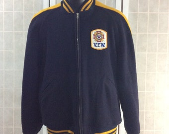 Vintage 1960s-70s V.F.W. Letterman Jacket 100% Wool Navy Blue and Yellow Size XLarge Veterans of Foreign Wars