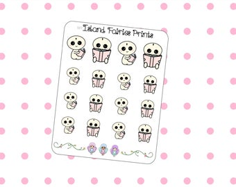 Mogus Bookworm Book lover reading Planner Stickers M7