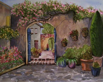 Italian Courtyard, 16x20 Original Watercolor Painting,One of a Kind,Not a Print