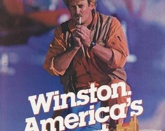 Vintage 1986 Winston Cigarette Ad ~ Winston Lights Ad ~ Wall Decor ~ Paper Ephemera ~ Sports Afield ~ Magazine Ad ~ Adirondack Wall Decor
