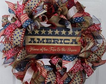 Vintage Americana Wreath, Americana Wreath, America Vintage Wreath, Vintage Patriotic Mesh, Patriotic Americana Wreath