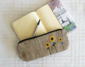 Free Shipping - Eco-friendly Burlap Pencil Case With Sunflower Embroidery