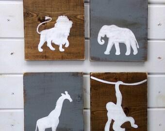 Jungle Animals Nursery, Gift for Baby, Zoo Animal Nursery Signs, Safari Themed Nursery, Safari Nursery, Giraffe Decor, Safari Nursery Decor