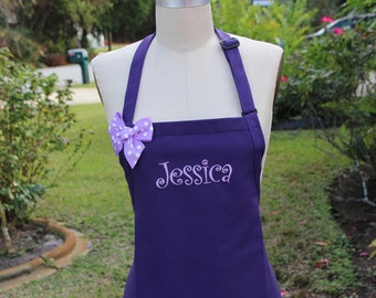 Personalized  Purple Apron with Lavender Embroidery thread /Embroidery apron / elegant apron / Hostess gift idea / Bridesmaid gift aprons .