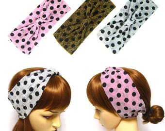 Polka Dot Silver Gold Pink Glitter Fabric Stretchy Turban Headband Head Wrap Wide Hairband Headpiece Hair Accessory Yoga Workout Fashion New