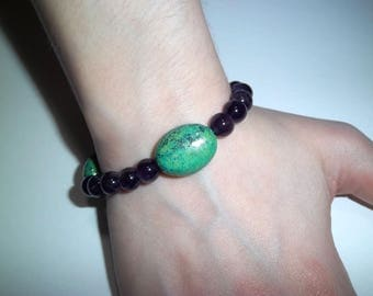 Chrysocolla and Amethyst Bracelet, Natural Healing Crystals, Arthritis, PMS, Muscle Cramps, Headaches, Migraines, Stress, Immune System