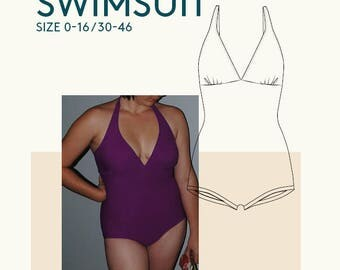 Bombshell swimsuit PDF sewing pattern|Womens bathing suit PDF sewing pattern|Halterneck swimsuit women|Tankini 1 piece bathing suit pattern