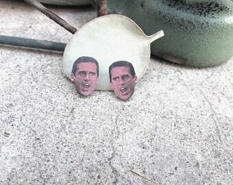 The Office Earrings, Dwight Shrute, Michael Scott Studs, The Office Stud Earrings, TV Show Stud Earrings, Face Earring