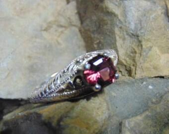 Rhodolite Garnet Filigree Ring
