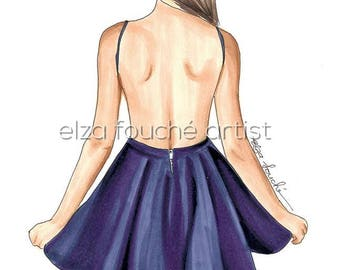 Purple Summer dress fashion illustration