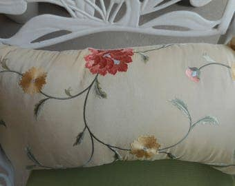 """Embroidered Floral Sil Throw Pillow, Qty-1, Size 22x11"""". Zippered, 20.00 each"""
