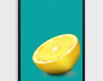 Lemon Print | Lemon Poster, Lemon Art, Lemon Wall Art, Lemon Wall Decor, Kitchen Print, Kitchen Poster, Fruit Print, Fruit Poster