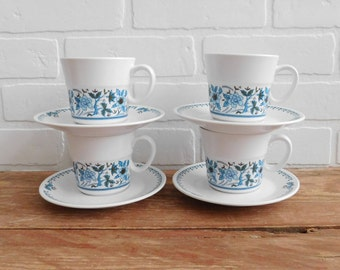 Vintage Noritake Progression Blue Moon 9022 Tea Cups and Saucers, Blue Floral Pattern Japan Dishes