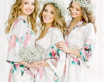 Bridesmaid robes Set of 1,2,3,4,5,6,7,8,9,10,11,12,13,14 Bridesmaid Gifts-Custom Wedding Robes-Gift for Bride-Satin Floral Robes-Bridal Robe