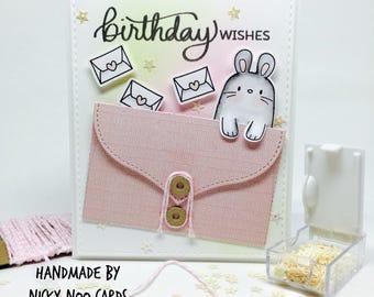 Handmade Birthday Card - Bunny Rabbit