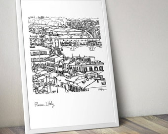Florence Italy Doodle Poster A1