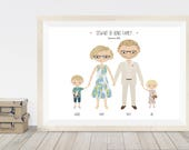 Custom portrait family illustration, anniversary gift, cartoon portrait of family, personalised gift for wife or husband