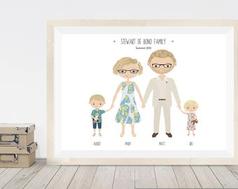 Anniversary gift, custom portrait family illustration, cartoon portrait of family, personalised gift for wife or husband