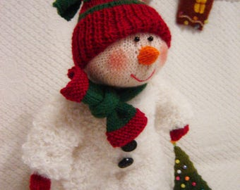 Snowman New Year's gift Gift for Christmas Toy,Snowman boy Knitted toy For home For decor Souvenir Soft toy Snowman art Winter souvenir Toys