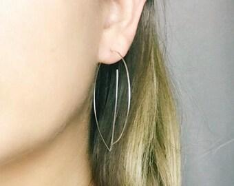 Rose gold statement earrings Gold hoop earrings Silver hoop earrings Threader earrings Big G earrings Stocking stuffer
