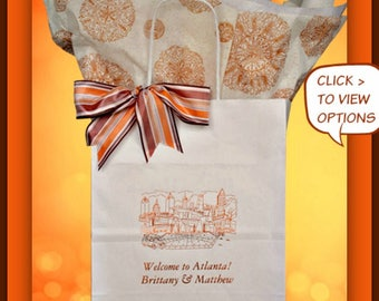 Wedding Welcome Bags Personalized Wedding Guest Gift Bags Favor Welcome Bag for Weddings that Celebrates Atlanta.  Free Shipping!*
