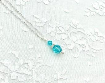 Bridesmaid Pendant, Bridesmaid Jewelry, Aquamarine Pendant, Bridal Party Jewelry