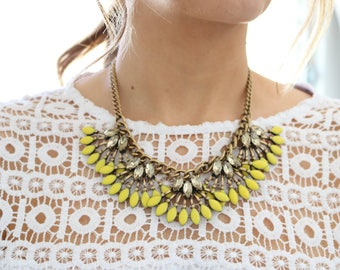 Statement necklace, yellow statement necklace, gold statement necklace, crystal statement necklace, yellow necklace, gold necklace, yellow