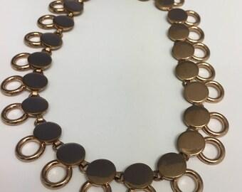 Copper Tone Circular Choker Necklace