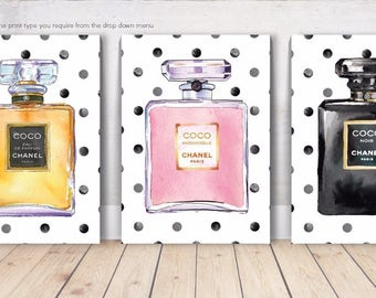 COCO CHANEL WATERCOLOUR Spot Perfume Bottles - 3 x Wall Art Print Poster Canvas