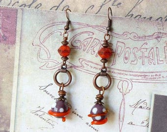 Beaded Earrings, Murano Glass Earrings, Lampwork Earrings, Boho Earrings, Bohemian Jewelry, Dangle Earrings, Handmade, Gift for Her