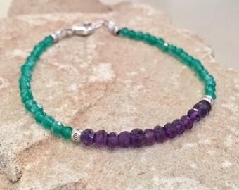Purple and green bracelet, amethyst bracelet, peridot bracelet, Hill Tribe silver bracelet, sundance style bracelet, gemstone bracelet