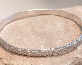 Sterling silver flower patterned bangle bracelet, pattern bangle bracelet, stackable sterling silver bracelet, sterling silver bangle