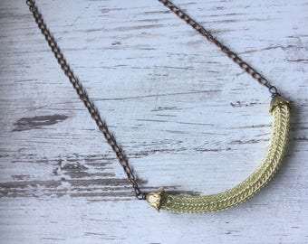 Double viking knit golden coloured necklace
