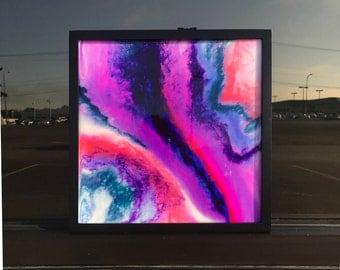 Unicorn // Original Art // Resin Painting // Fluid Art // 12x12 Painting, Frame Included // Abstract Art // Purple, Teal, Orange, Magenta