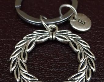 Laurel Wreath Keychain, Laurel Wreath Key Chain, Laurel Wreath Charm, Laurel Wreath Pendant, Apollo Greek God, Greek Mythology Keychain