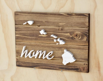 "Hawaii State Wood Plaque Cutout w/ ""Home"""