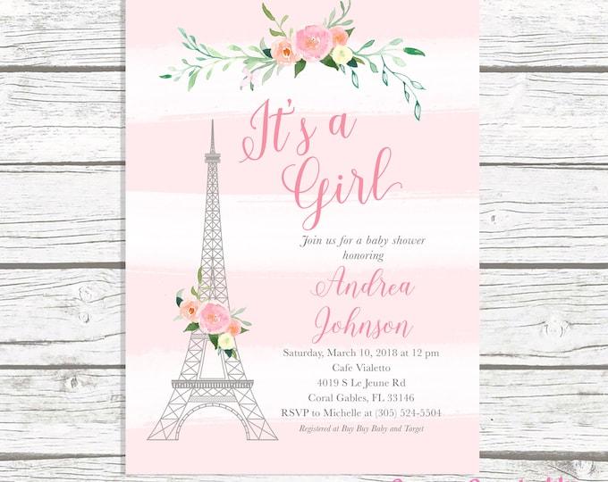 Paris Baby Shower Invitation, French Baby Shower Invitation, Eiffel Tower Baby Shower Invitation, Girl baby Shower, Parisian Themed Invite