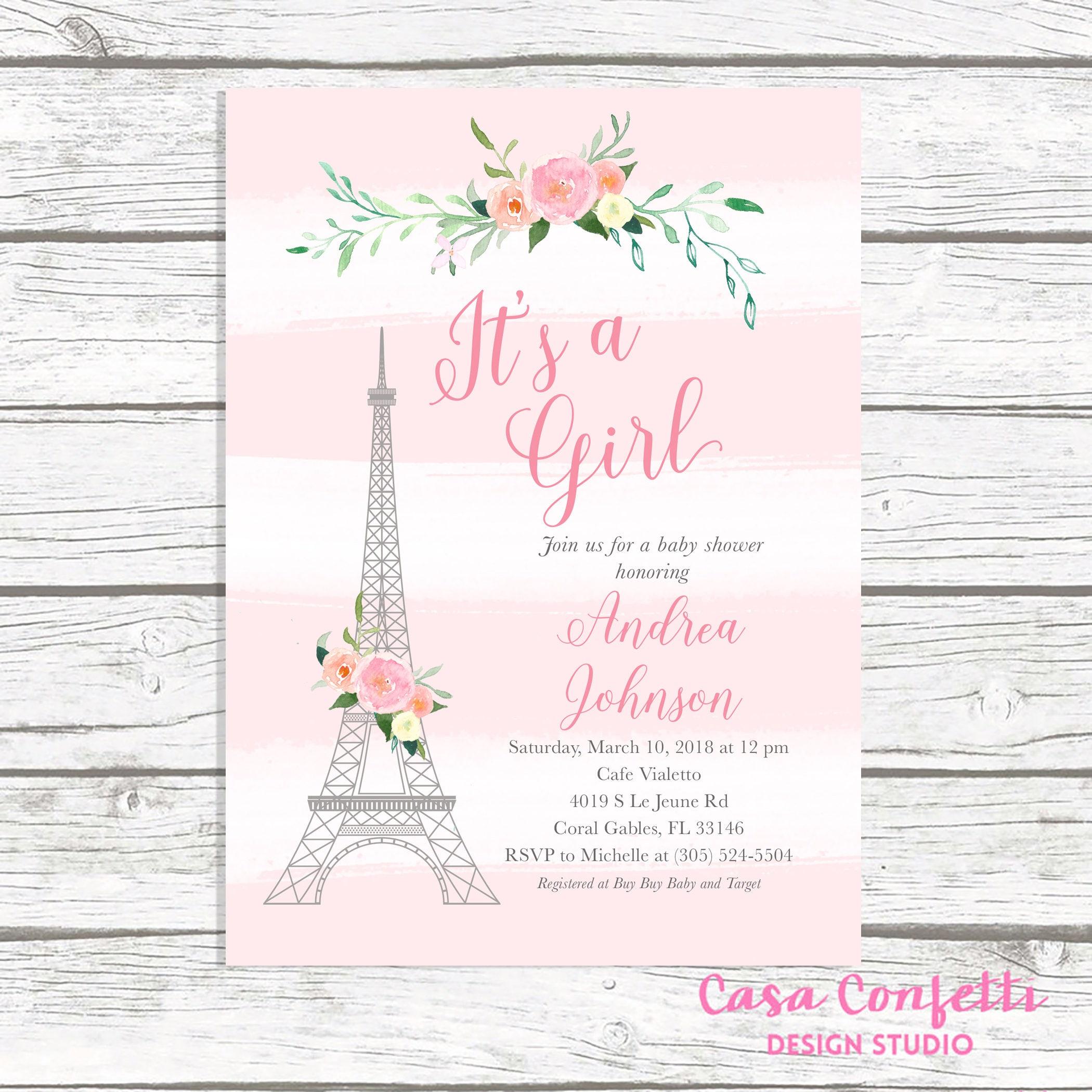 Paris Baby Shower Invitation, French Baby Shower Invitation ...